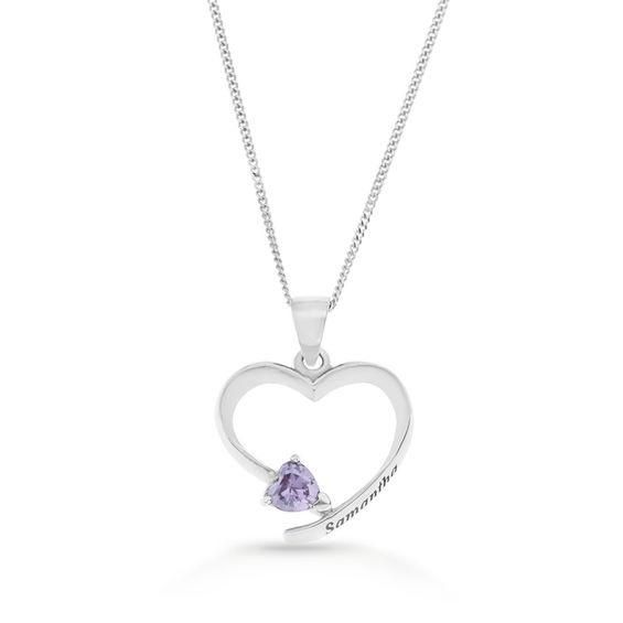 Zales Heart-Shaped Simulated Birthstone Ribbon Pendant in Sterling Silver (1 Name and Stone) bS79t8eIS