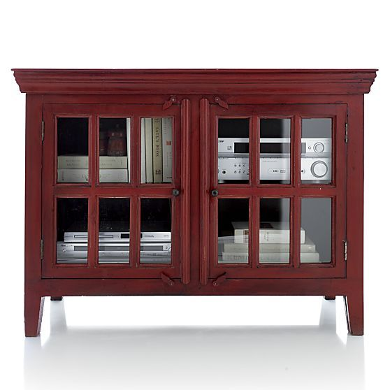 Rojo Red 46 Media Storage Cabinet Crate And Barrel 46 Wx18 Dx34