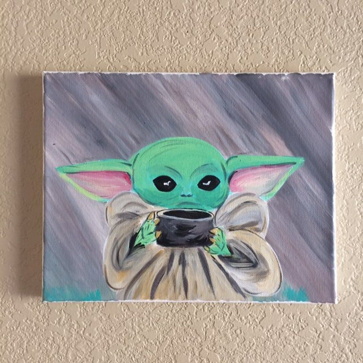 Baby Yoda Painting 8x10 Sipping Tea Meme Marvel Canvas Art Star Wars Canvas Art Star Wars Painting