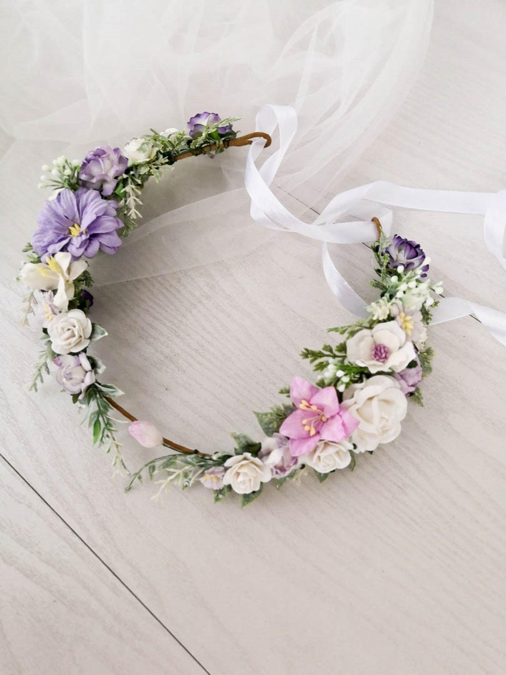 Flower Crown Wedding Wedding Accessories Lavender Wedding Etsy In 2020 Flower Hair Accessories Wedding Flower Crown Wedding Bridal Flower Crown