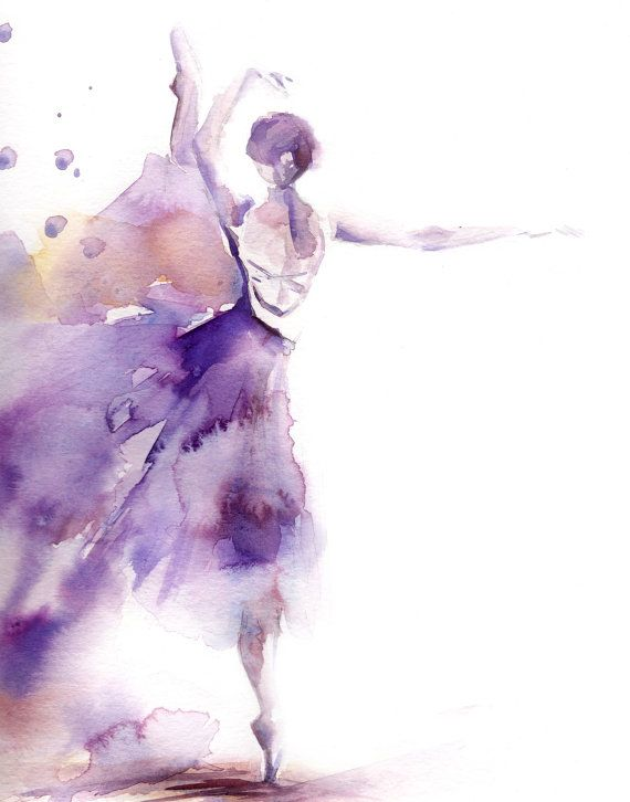 Ballerina Fine Art Print Ballet In Purple Watercolor Loose Style