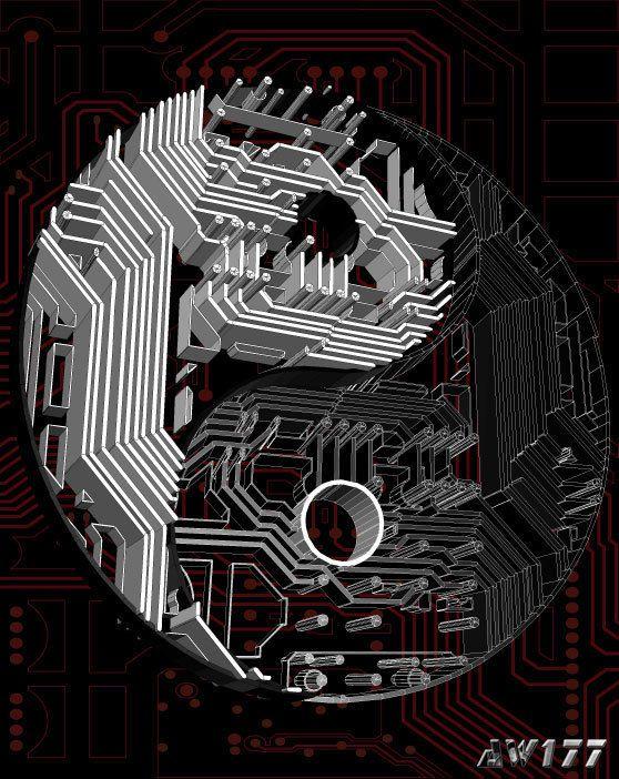 "Circuit Harmony"" yin-yang logo, an experimentation with circuitry ..."