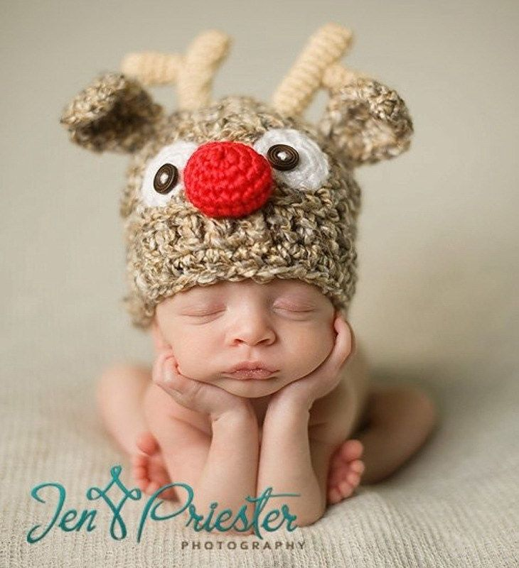 Retail fashion elk styles baby hat crochet handmade knitted hat baby newborn photography props christmas gift