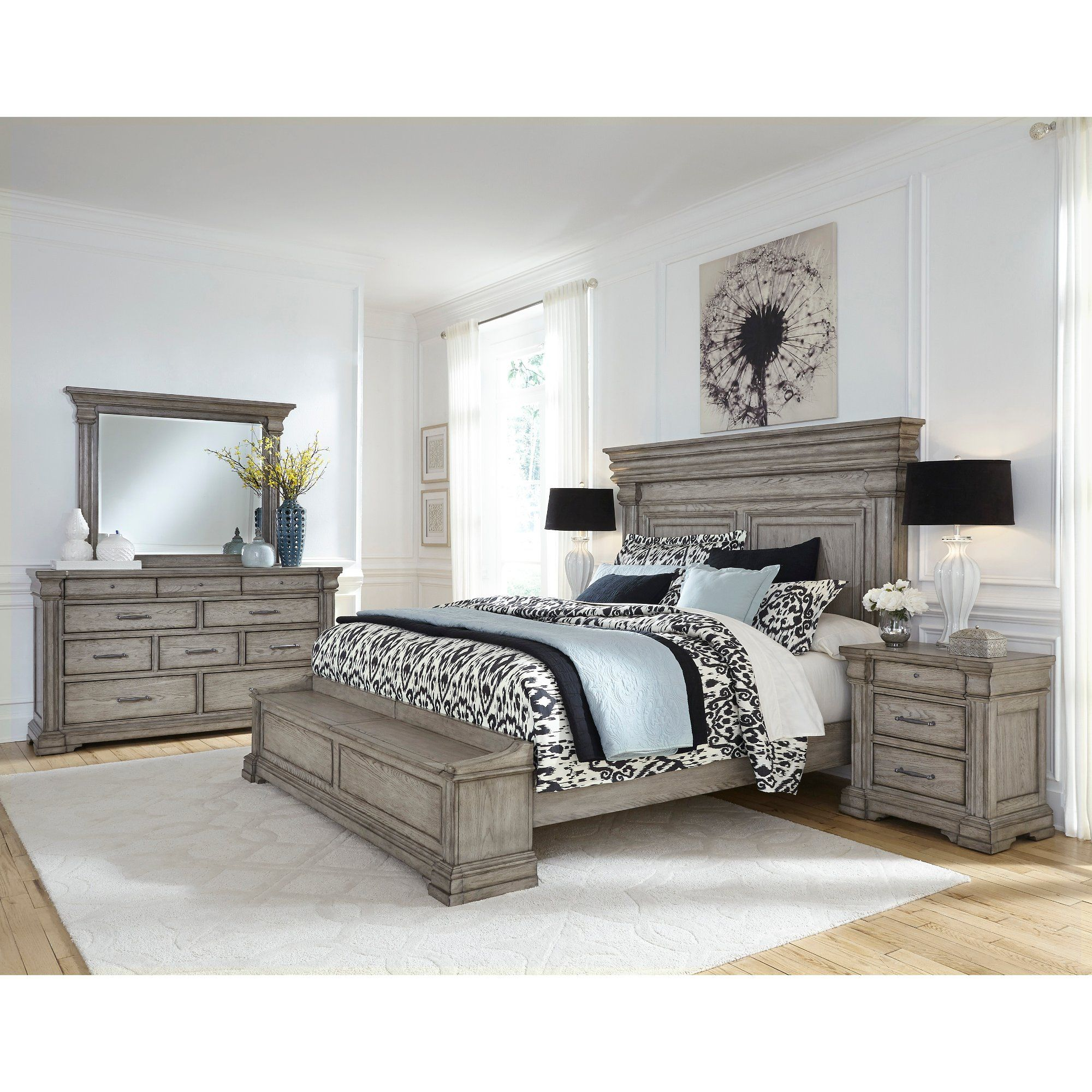 Traditional Gray 4 Piece California King Bedroom Set Madison Ridge In 2020 King Bedroom Sets Grey Bedroom Set King Size Bedroom Sets
