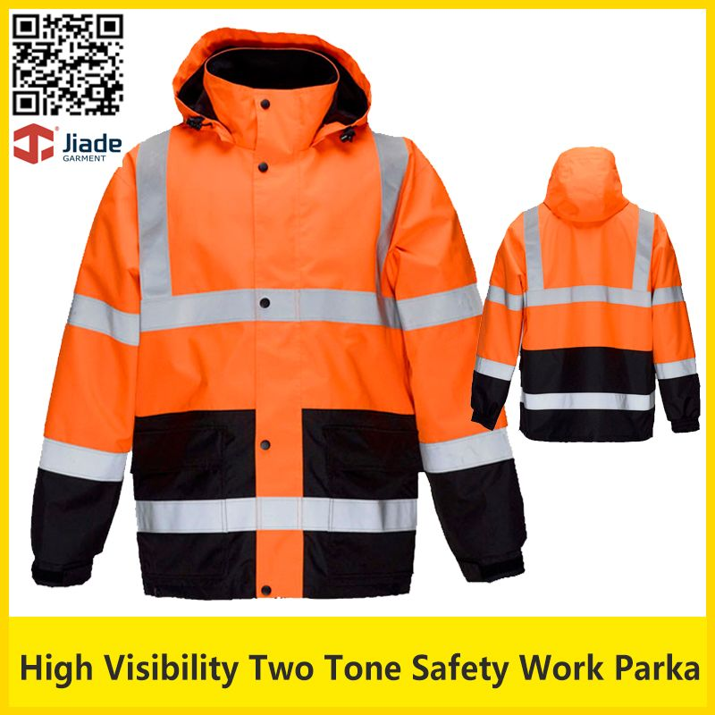Jiade High Visibility Two Tone Reflective Safety Work Jacket Thermal Winter Jacket Workwear Safety Clothing Work Jackets Safety Clothing Work Wear