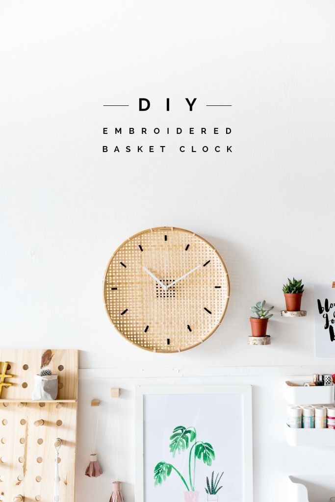 Make a DIY Embroidered Basket Clock http://fallfordiy.com/blog/2016/07/19/make-a-diy-embroidered-basket-clock/