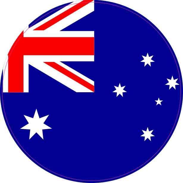 4x4 Round Australia Flag Sticker Vinyl Vehicle Decal