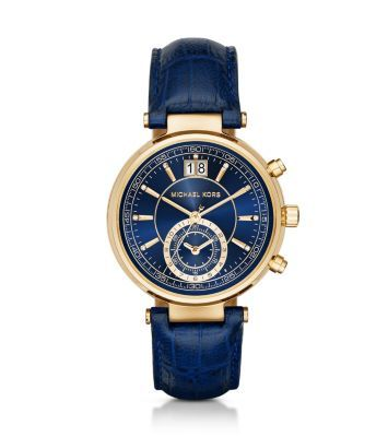 Our New Sawyer Watch Is The Face Of Fierce Functionality An Embossed Leather Strap And Navy Dial Elevate Michael Kors Jewelry Leather Watch Michael Kors Watch