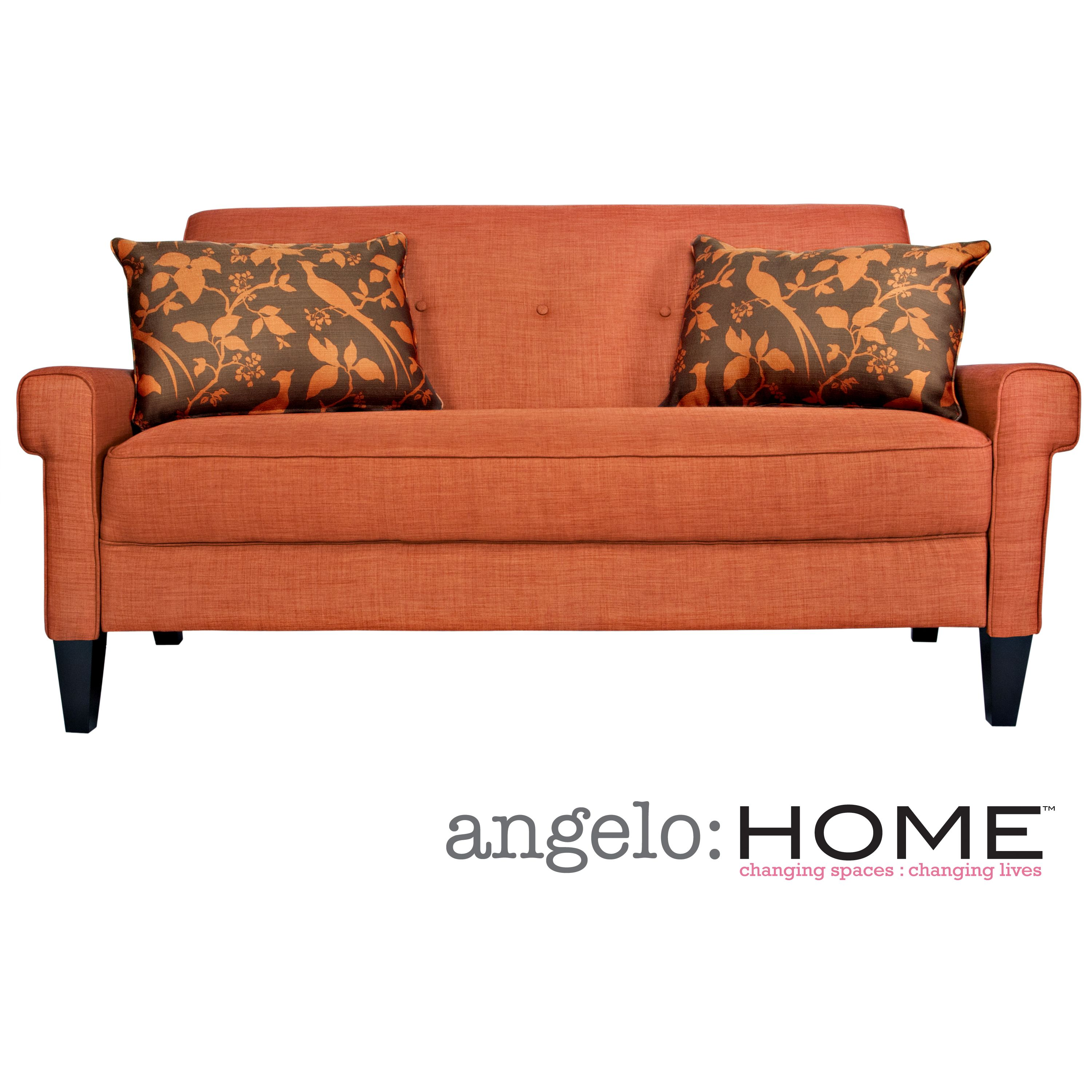 The Angelo Home Ennis Sofa Was Designed By Surmelis Has Squared Arms And Is Covered In A Vintage Orange Linen Like Twill Texture