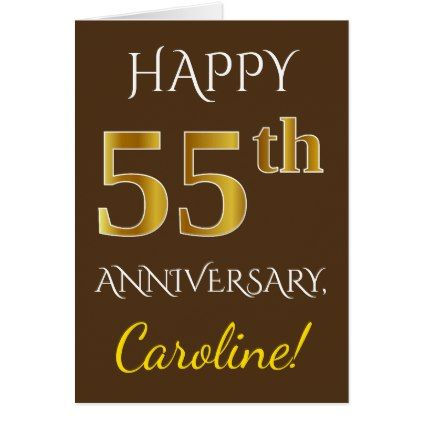 Brown Faux Gold 55th Wedding Anniversary Name Card