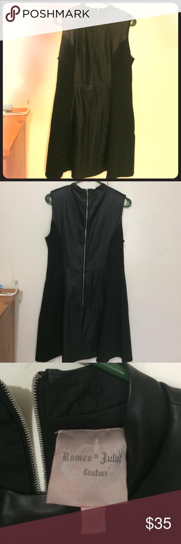 Black Romeo & Juliet couture dress Size Large black with pleather dress. Worn once. Romeo & Juliet Couture Dresses Midi