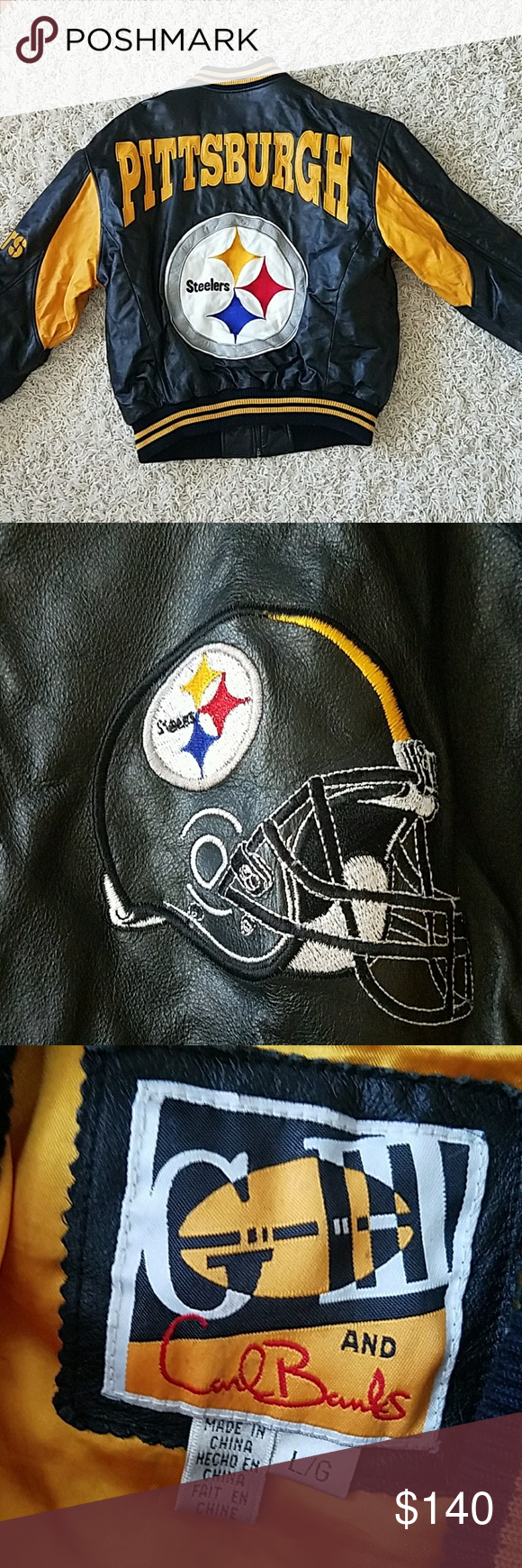 Vintage Pittsburgh Steelers leather coat Clothes design