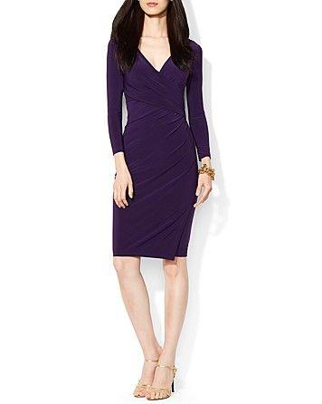 $134 size 6, Lauren Ralph Lauren Dress - V-Neck Side Draped Matte Jersey   Bloomingdale's