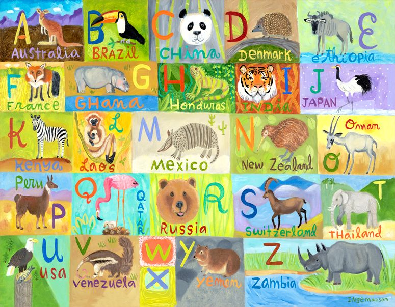 Oopsy daisy Globally Wild Alphabet Canvas Wall Art by Donna ...