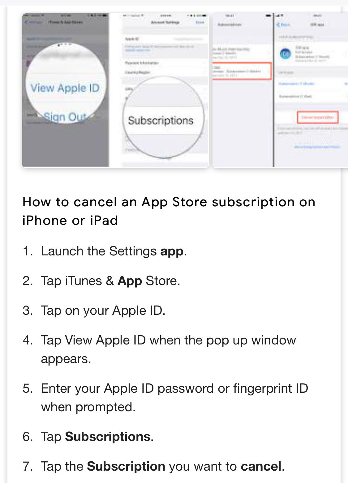How To View Or Cancel Apple Iphone Subscriptions Settings App