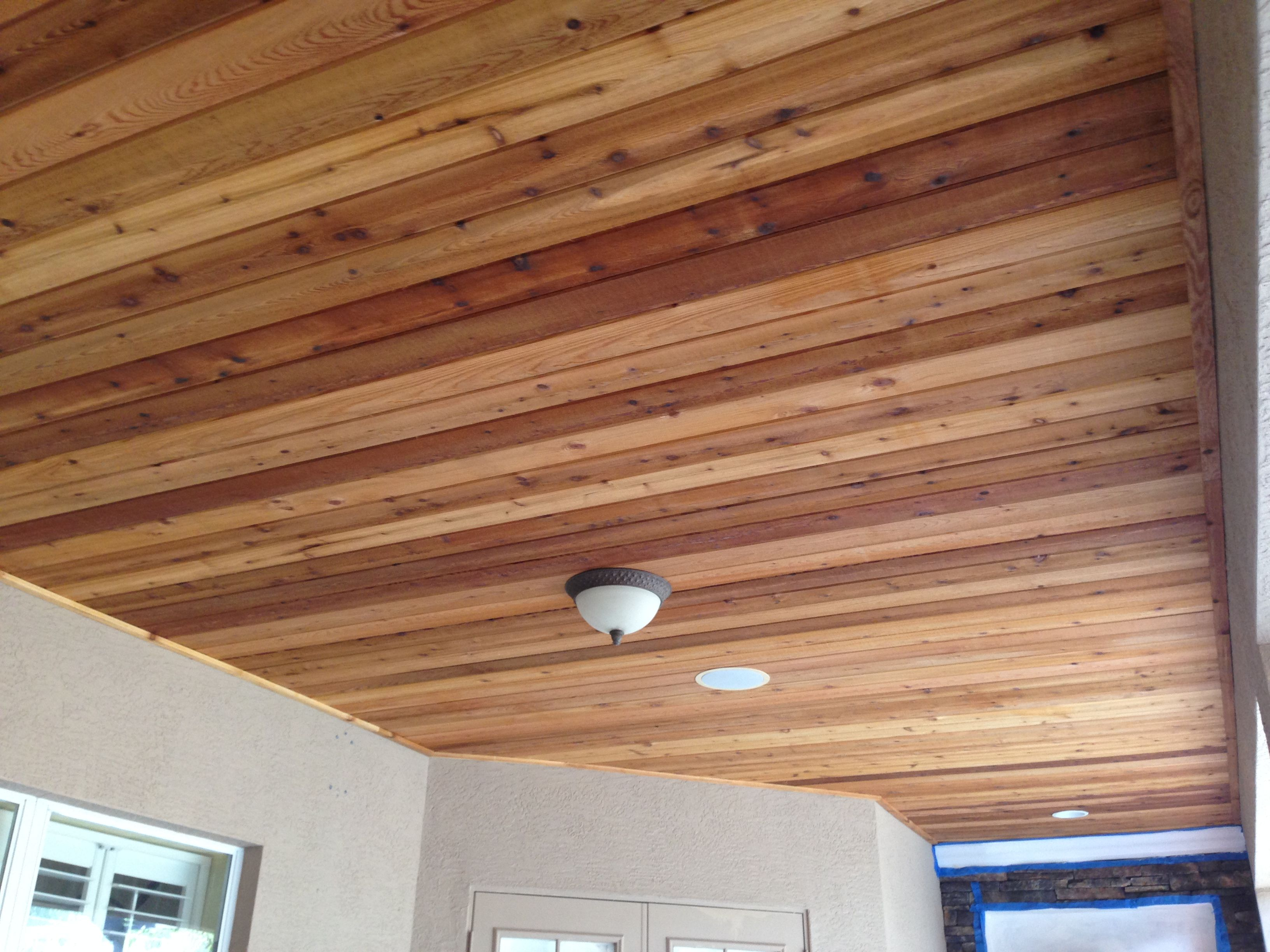 Stained Tounge And Groove Exterior Wood Porch Ceiling - Year