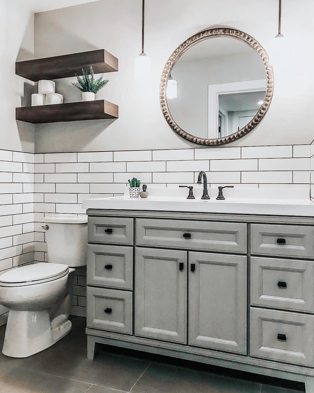 Grey Basement Ideas: Basement Bathroom. Subway Tile. Gray Vanity. Basement