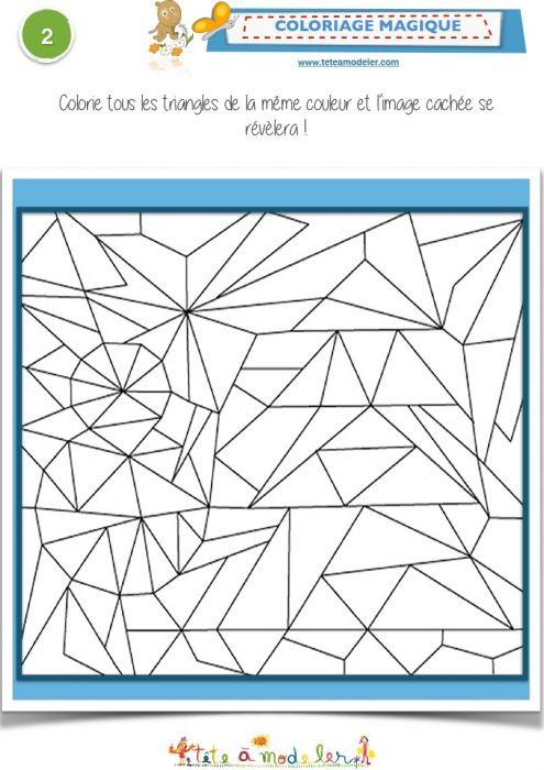 Coloriage magique 2 1 les triangles dessin magique - Coloriage des formes geometriques ...