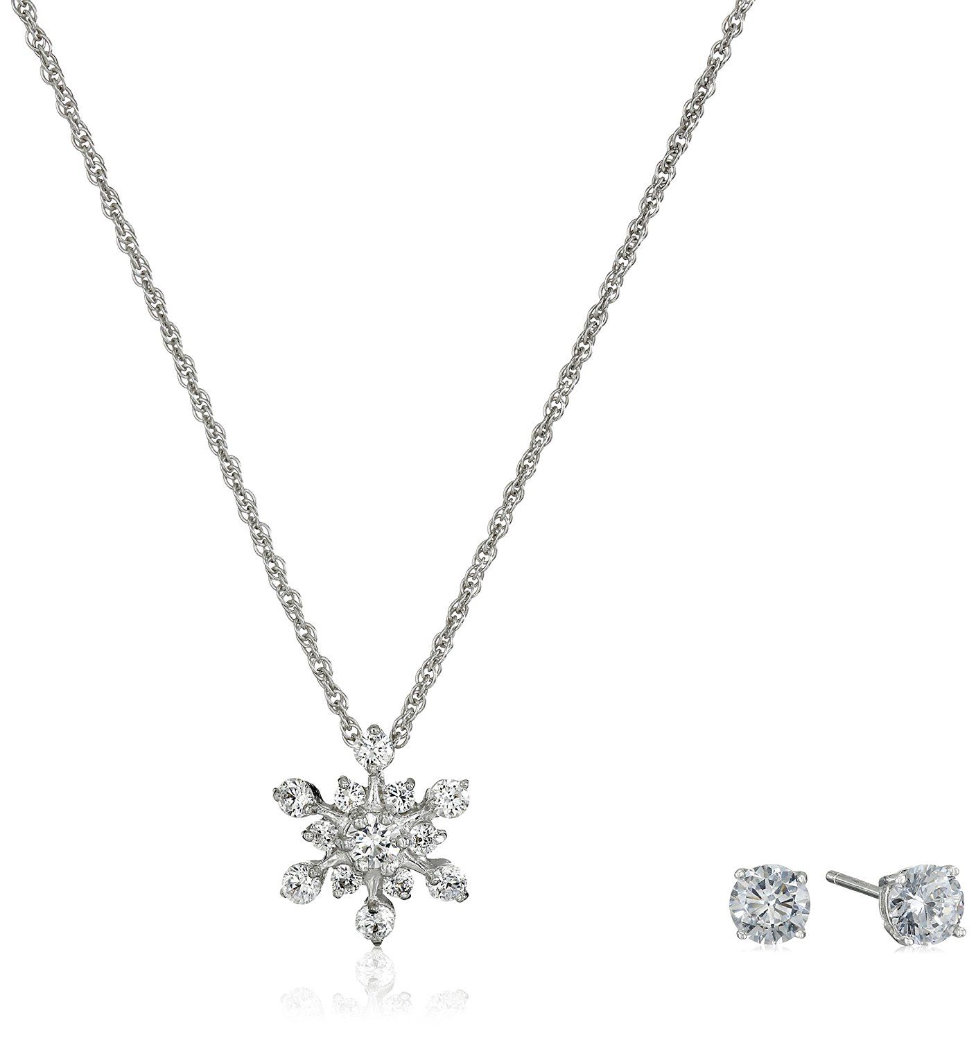 Sterling silver and cubic zirconia snowflake pendant necklace and