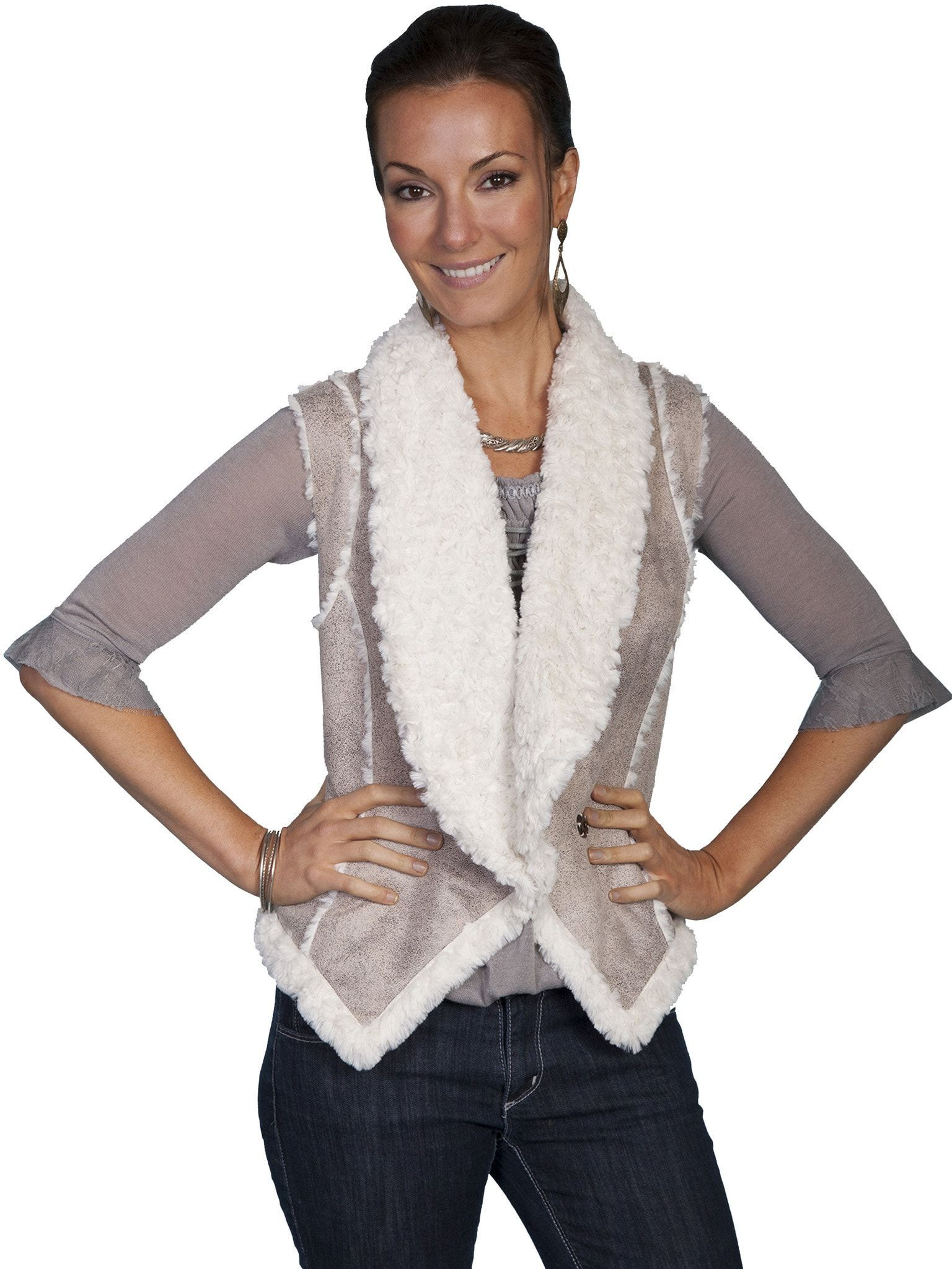 Scully Ladies Faux Shawl Collar Fur Vest Sand 100% Polyester Contrast