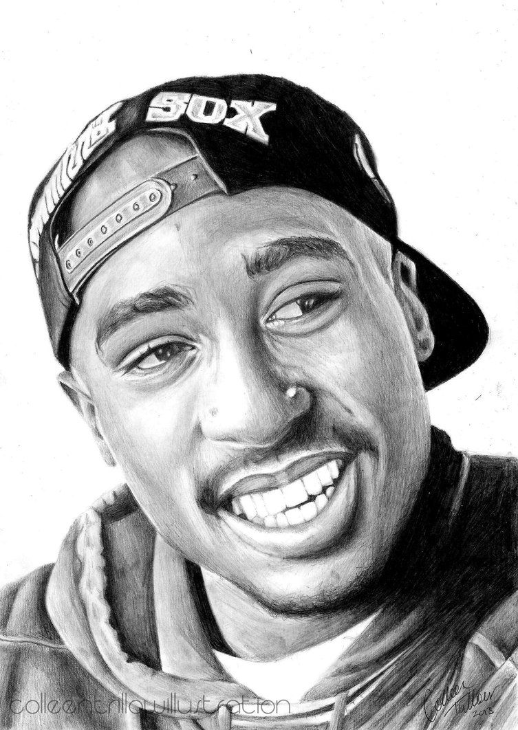 Tupac Shakur Drawing by ColleenTrillow | Drawings ...