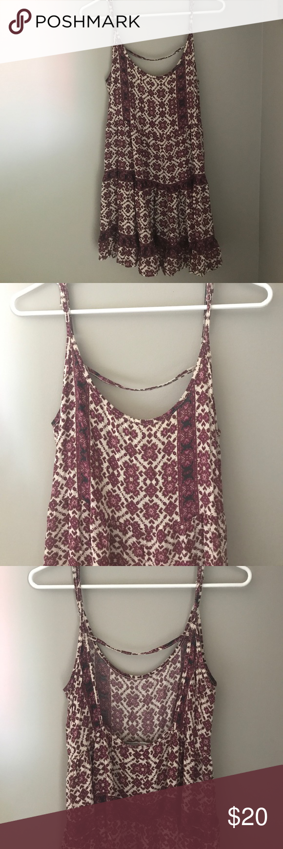 """Brandy Melville Dress Barley worn, cute summery dress with a """"U"""" shaped scoop in the back. Can also be worn in the fall with a leather jacket! Brandy Melville Dresses Mini"""