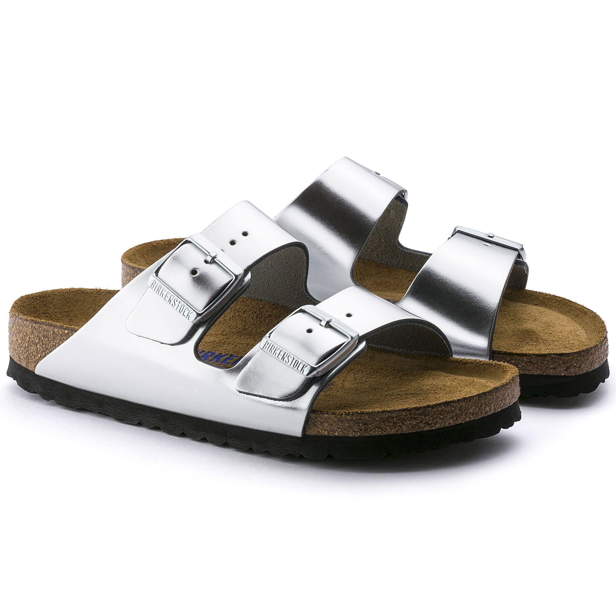 5d255d794e78 Arizona Soft Footbed Metallic Silver Leather
