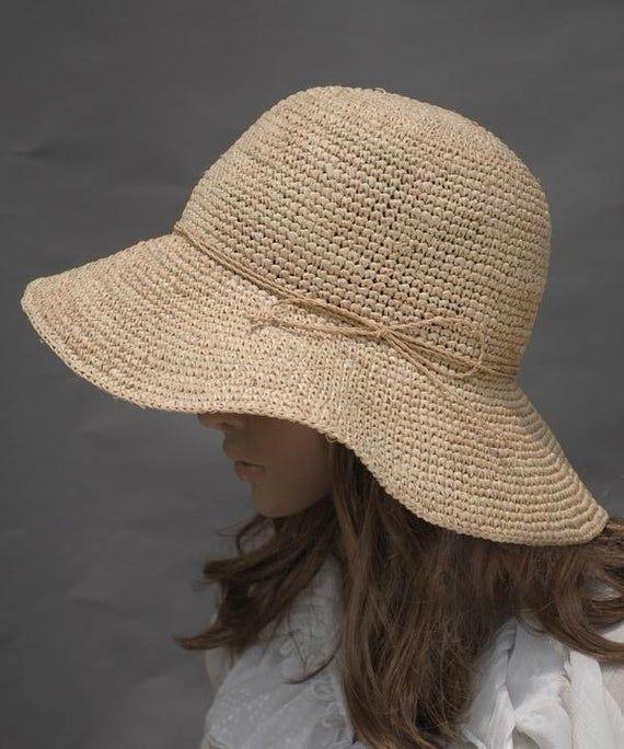 Chapeau crocheté chapeau de raphia chapeau de sole