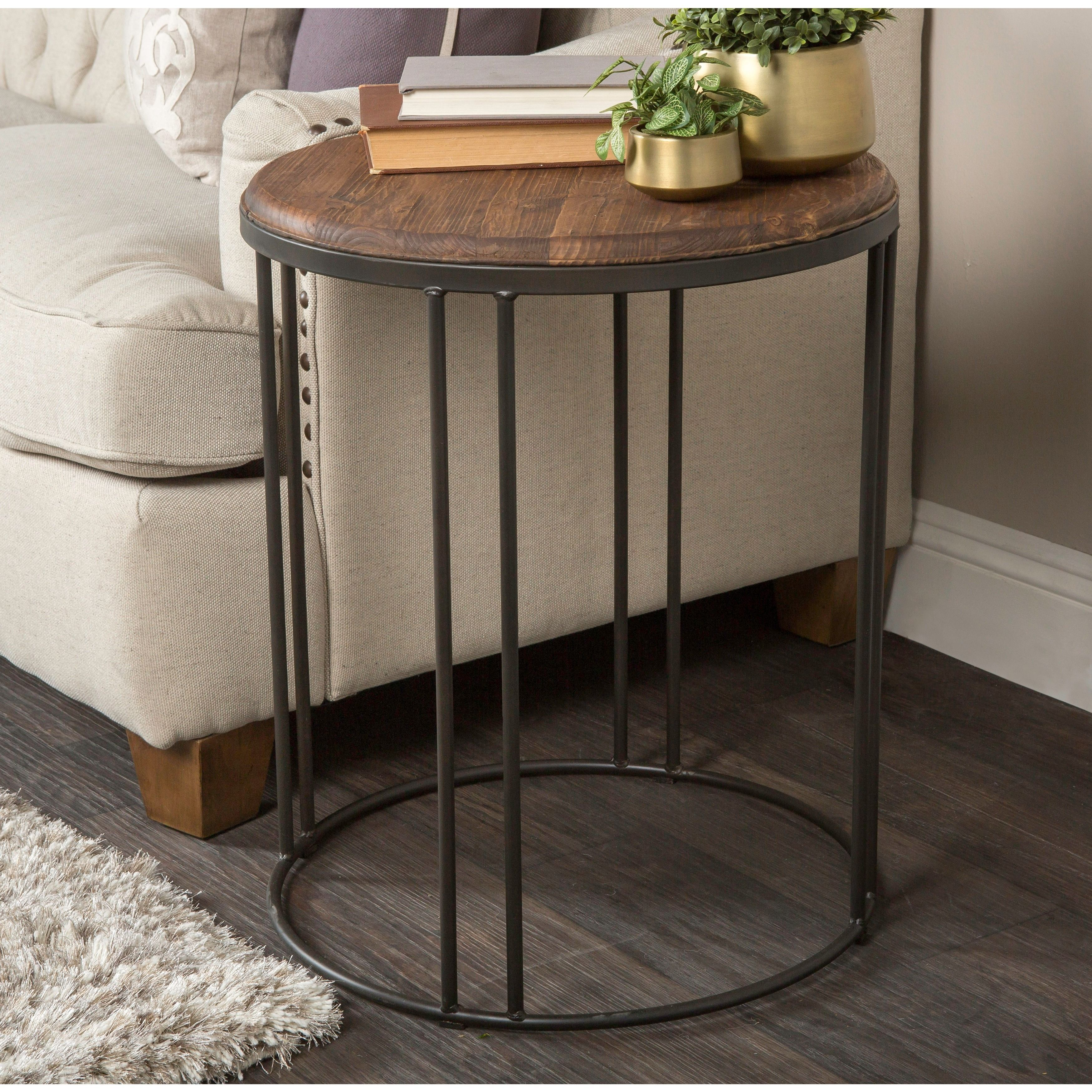 Iron Side Tables For Living Room Kosas Home Burnham Reclaimed Wood And Iron End Table