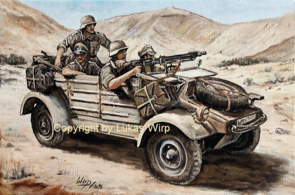 Leutnant der 10. Panzerdivision auf Erkundung mit Kübelwagen VW Typ 82  am Kasserinpass in Tunesien. Hier entbrannte am 19. Februar 1943 die erste größere Schlacht zwischen deutschen und amerikanischen Soldaten