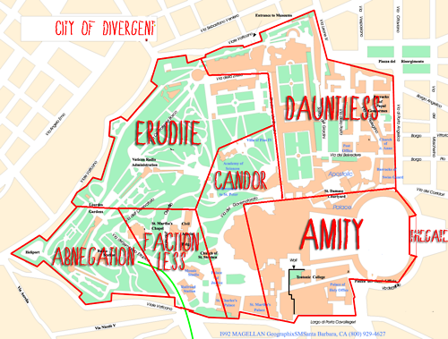 Map of the City with each faction's zone (Divergent by Veronica Roth) that is not at all how I pictured it. Hmm.