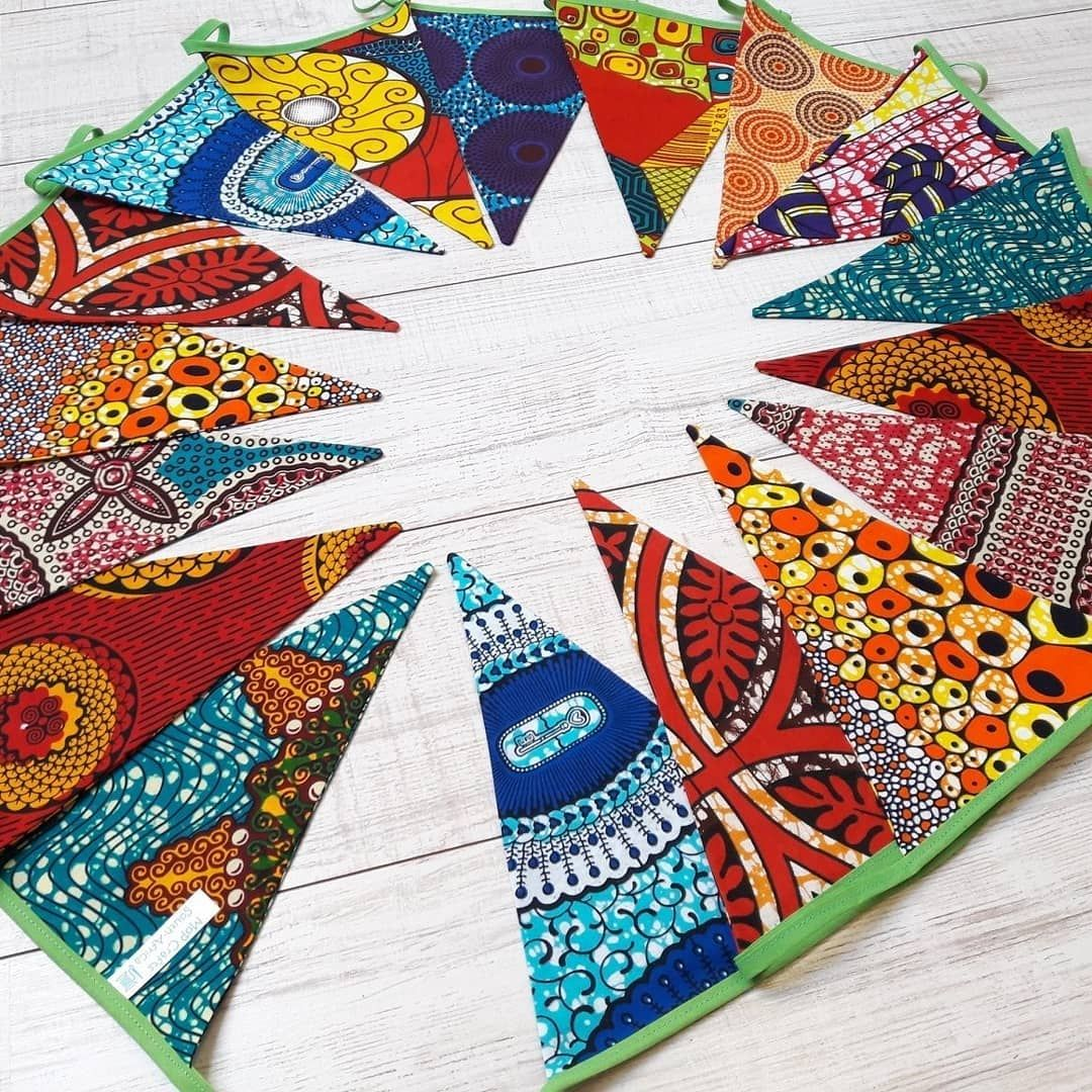 Party Fabric Garland African Tribal Print Fabric Bunting Garland Banner Bunting Flags Party Banner