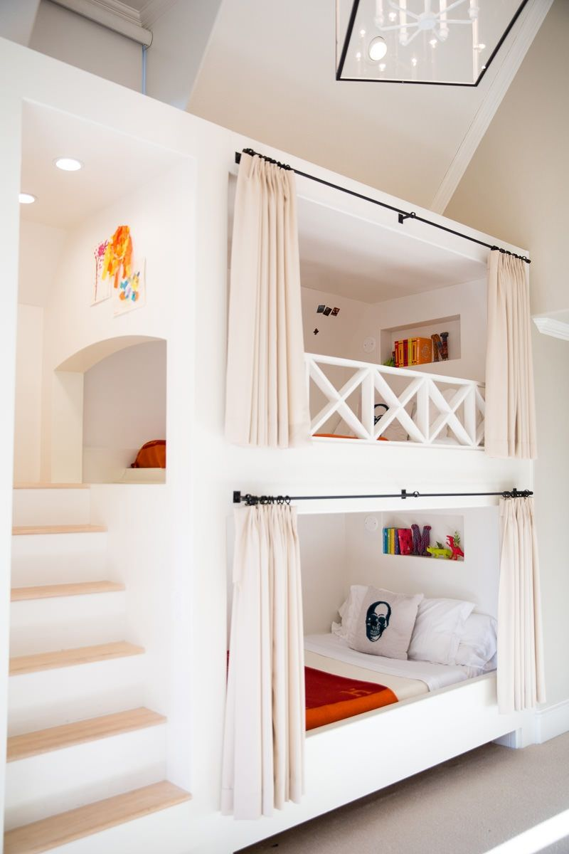 Girls loft bed with slide  Bunk beds with builtin stairway and curtain rods  Amy Berry Design