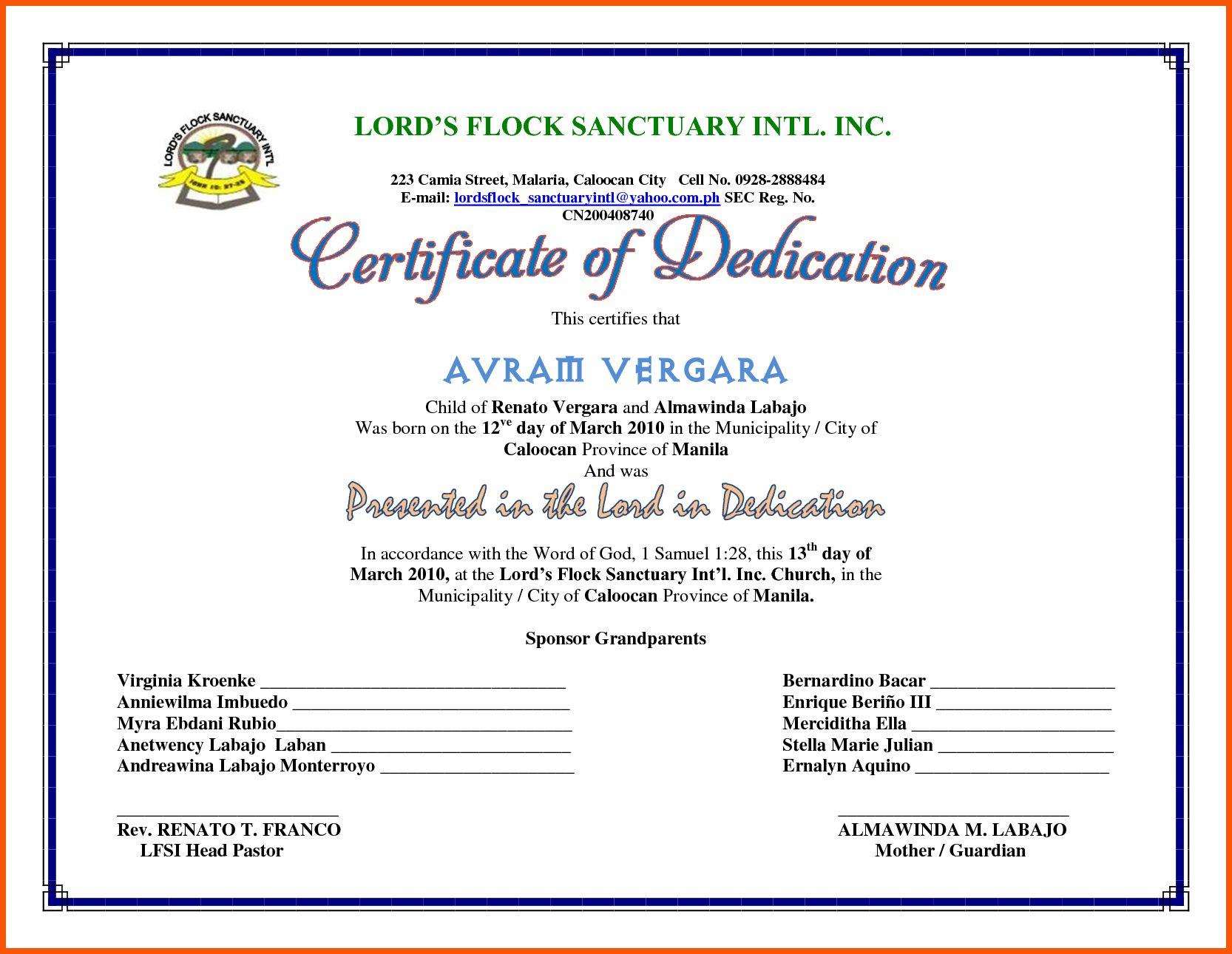 The Wonderful 5 Dedication Certificate Template