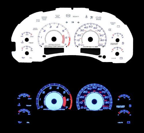 9803 Chevy S10 AT w/ 7000 RPM Tach Reverse White Gauges