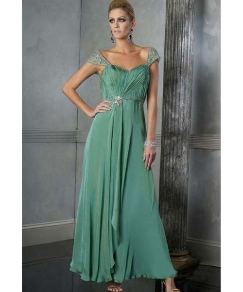Sweetheart Cap Sleeves Lange Chiffon Mutter der Braut Kleid ...