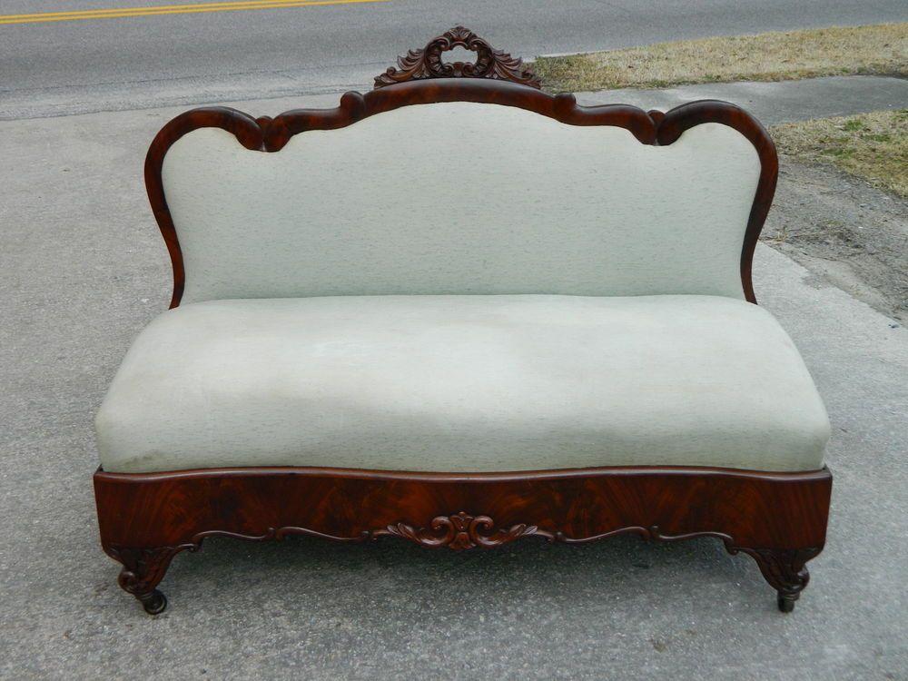 Antique Foyer Bench : Mahogany empire victorian bustle bench sofa circa 1855 animal