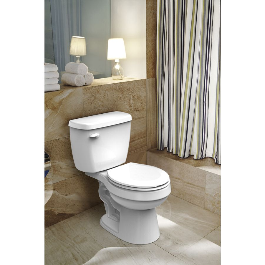 Shop Project Source White 1 28 Gpf 4 85 Lpf 12 In Rough In Watersense Round 2 Piece Standard Height Toilet At Lowes Com Water Sense