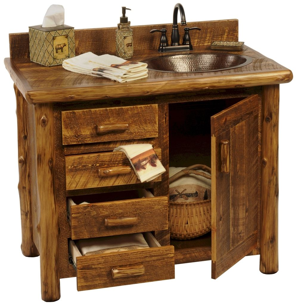 Sawmill Camp Rustic Bathroom Vanity Sink Design With Mounted Faucet And Round Sink