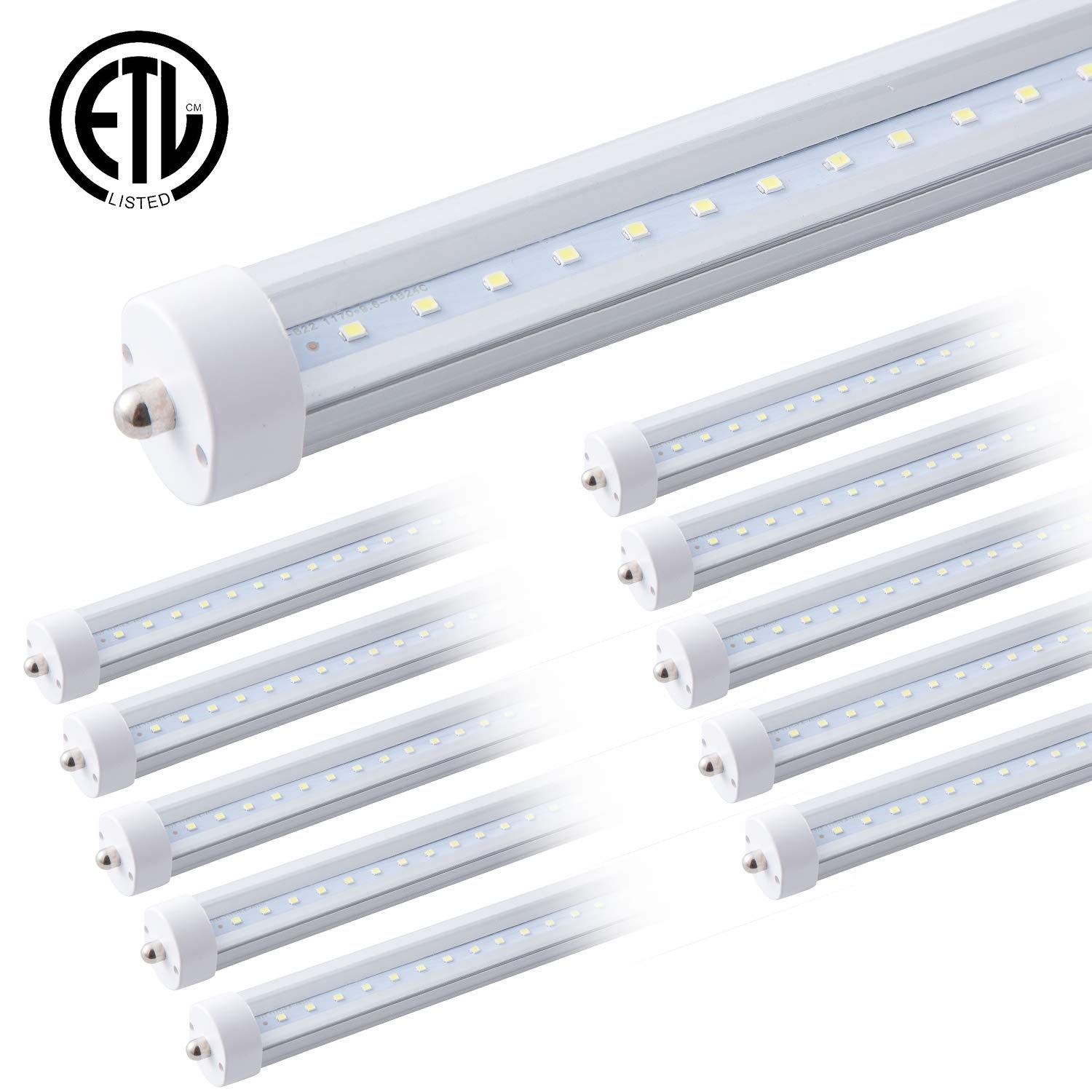 Etl T8 T12 8ft Led Tube Light F96t8 Bulb F96t12 Bulb Replacement 40w 4000lm 100w Single Pin 8 Fluorescent Equivalent 1 Led Tube Light Tube Light Led Tubes