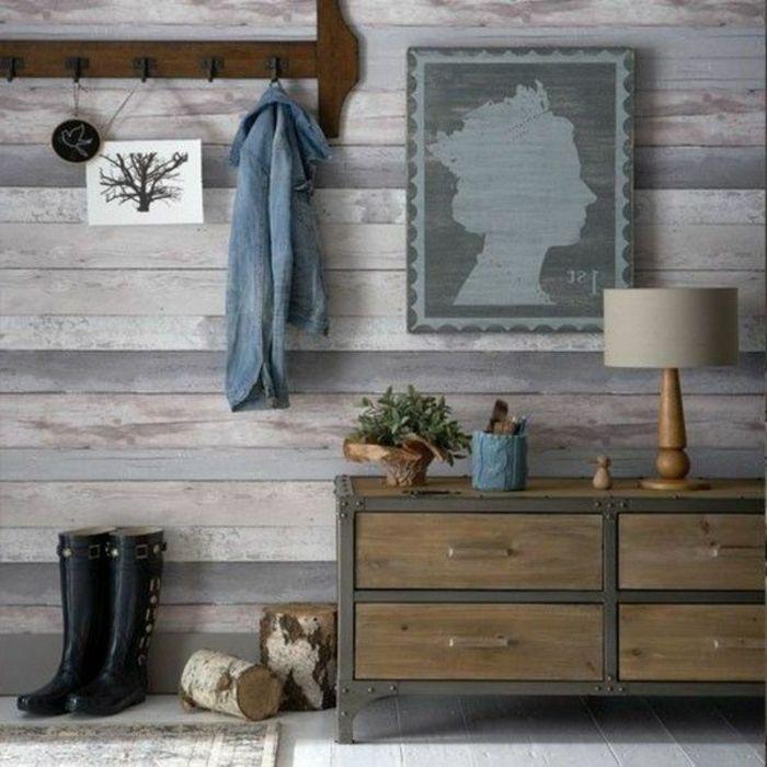 entrée mur tapissé de papier peint imitation bois Design intérieur - mur en bois interieur