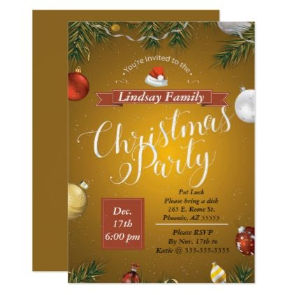 Golden Christmas Party Invitation Zazzle Com Christmas