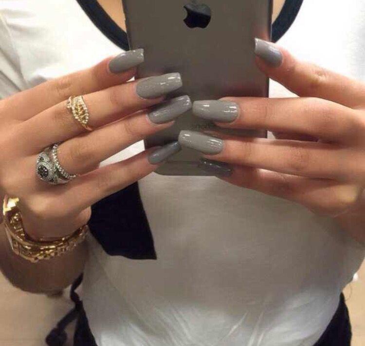 Grey Square Shaped Nails Nailinspo N A I L I N S P O Pinterest Nail Inspo Pretty Nails