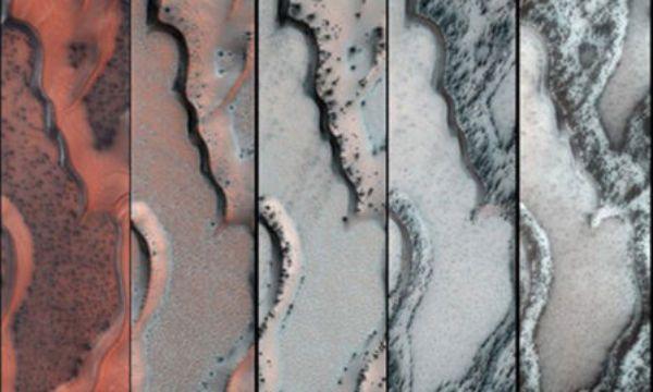 la nasa observa el descongelamiento de gases en la zona norte del planeta en  primavera marte1