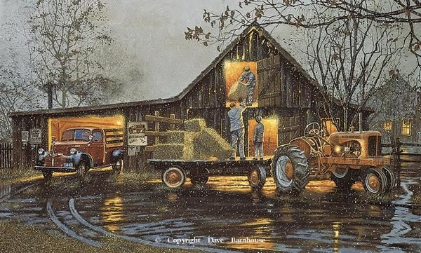 """""""Last Chore of the Day"""" """"SOLD OUT"""" -Rural America Paintings by Dave Barnhouse"""