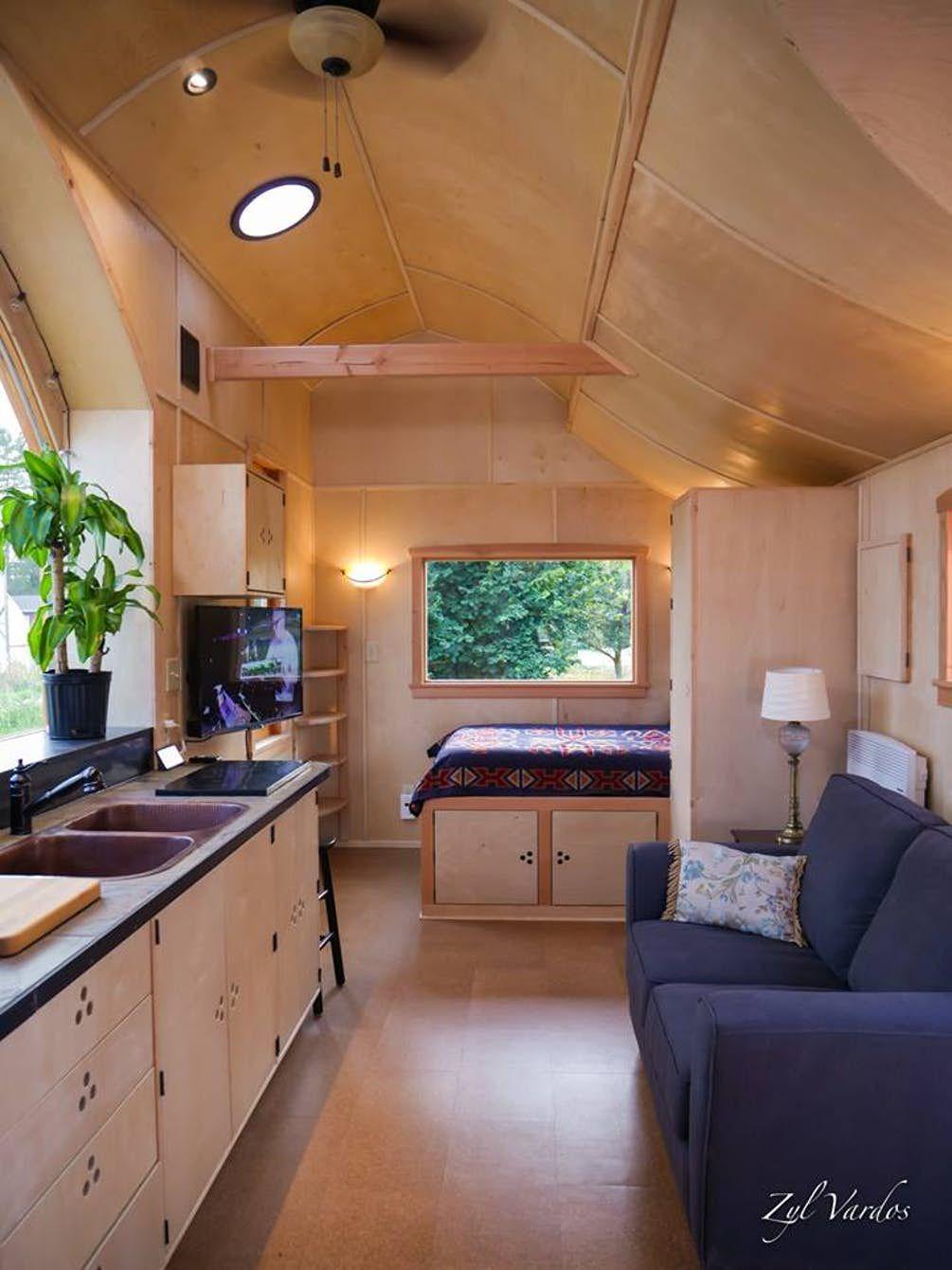 5th wheel master bedroom  View towards the Damselfly Houseus main bedroom  Tiny Homes