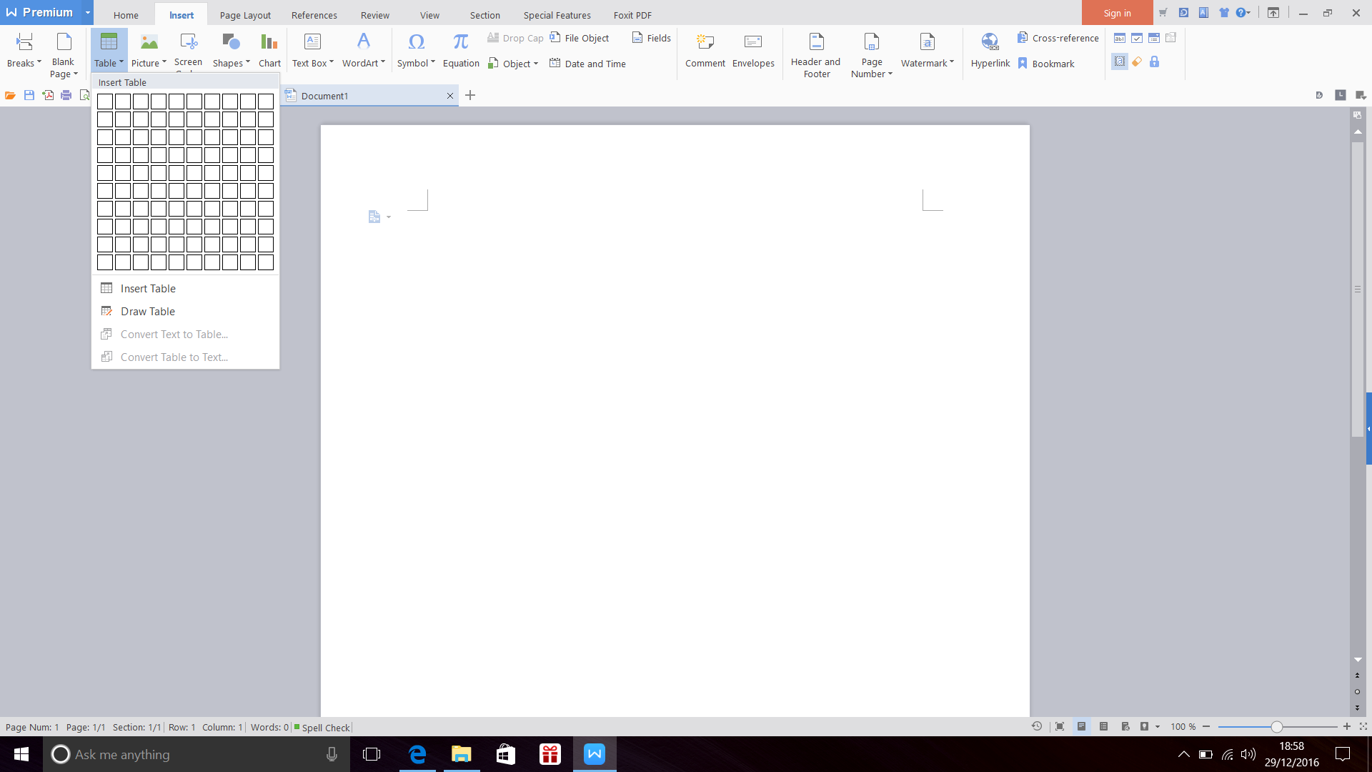 Screenshot of Insert Table in WPS Office 2016 Writer (Windows 10