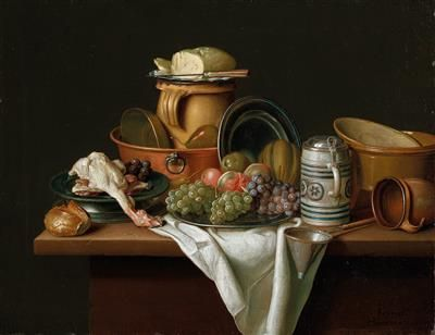 Peter Jacob Horemans – A kitchen still life with dishes, fruit and poultry.jpg - By Peter Jacob Horemans - https://www.dorotheum.com/en/auctions/current-auctions/kataloge/list-lots-detail/auktion/11686-old-master-paintings/lotID/252/lot/2029573-peter-jacob-horemans.html?currentPage=6&img=0, Public Domain, https://commons.wikimedia.org/w/index.php?curid=50649889