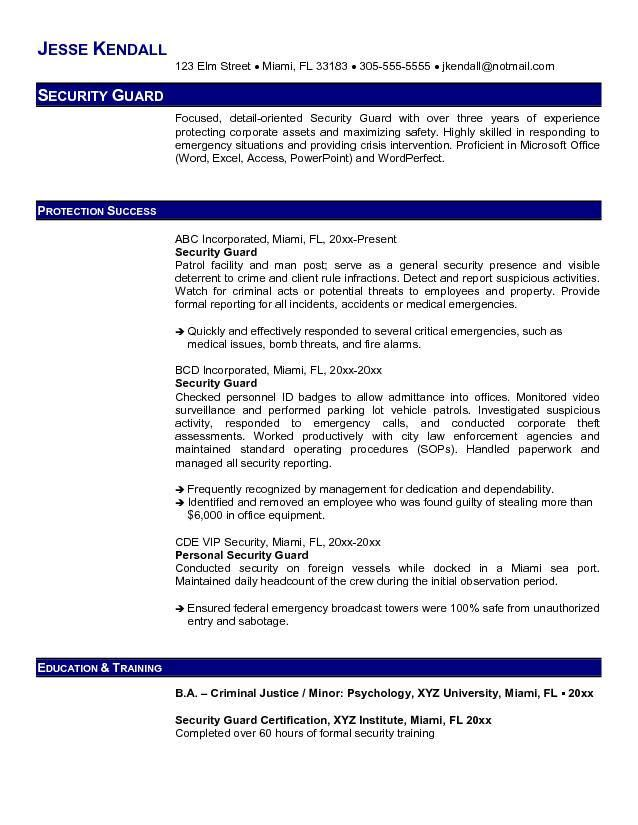 Security Guard Resume Example Security Resume Resume