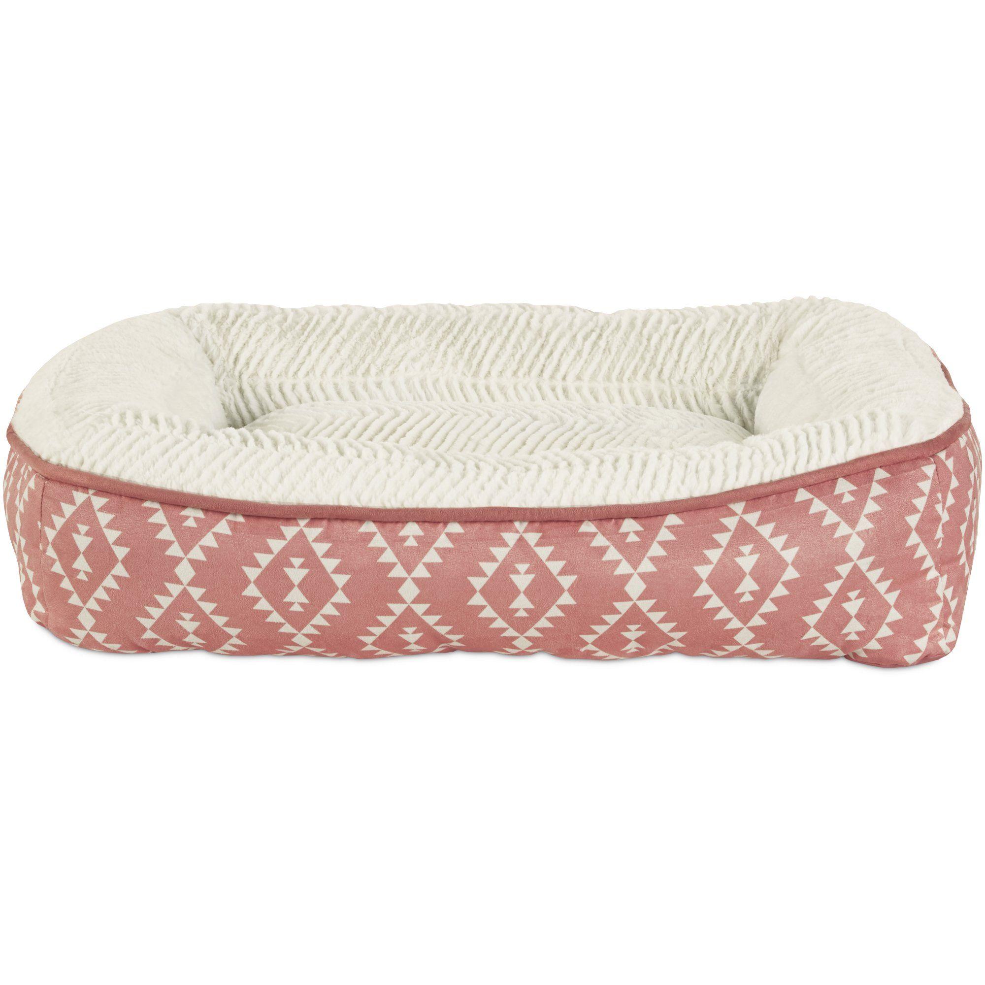 Harmony Pink Aztec Print Lounger Memory Foam Dog Bed Petco
